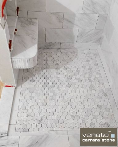 Simple X Tile Border And Hexagon Field Tiles Bathroom Tile - Carrara porcelain tile 3x6