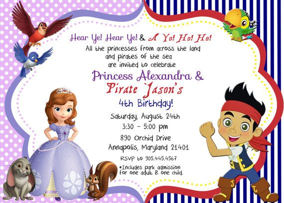 17 best Sophia and Jake Party images – Princess and Pirates Party Invitations
