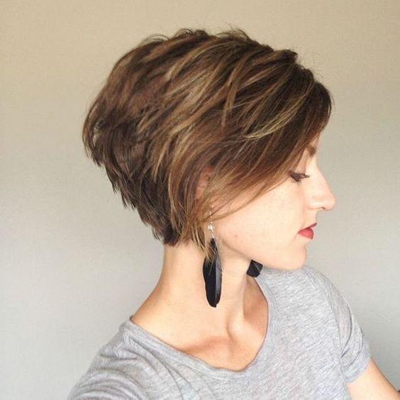 Balayage Short Hairstyle - Stacked Short Hair Cuts