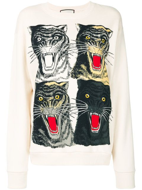 GUCCI Tiger Face Oversized Sweatshirt. #gucci #cloth #sweatshirt