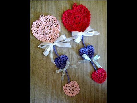 No 110# Girlanda z serduszek na szydełku - Garland with heart on crochet - YouTube