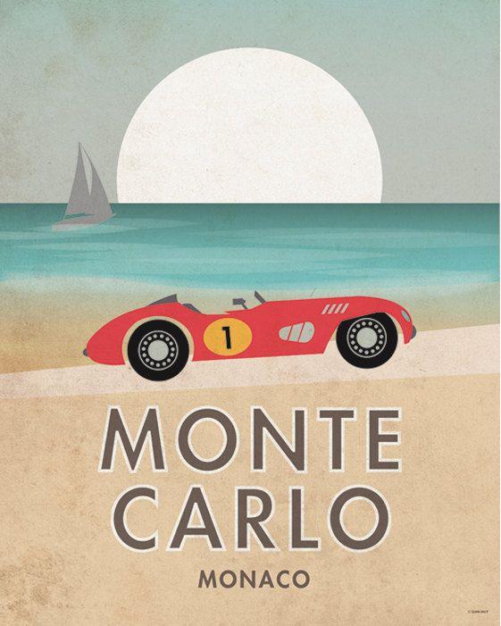 Monte Carlo. Grand prix. Voiture. Affiche. Art. par SomeLikeItShop