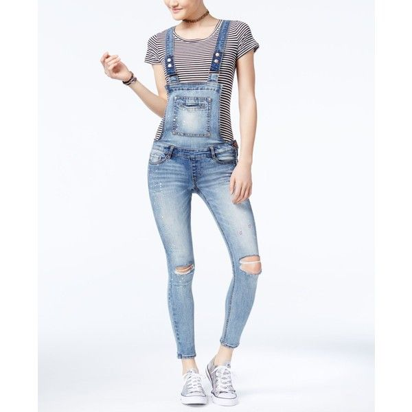 Dollhouse Juniors' Skinny Denim Overalls ($49) ❤ liked on Polyvore featuring jumpsuits, genesis, print skinny jeans, print jumpsuit, cut skinny jeans, white skinny jeans and skinny fit jeans