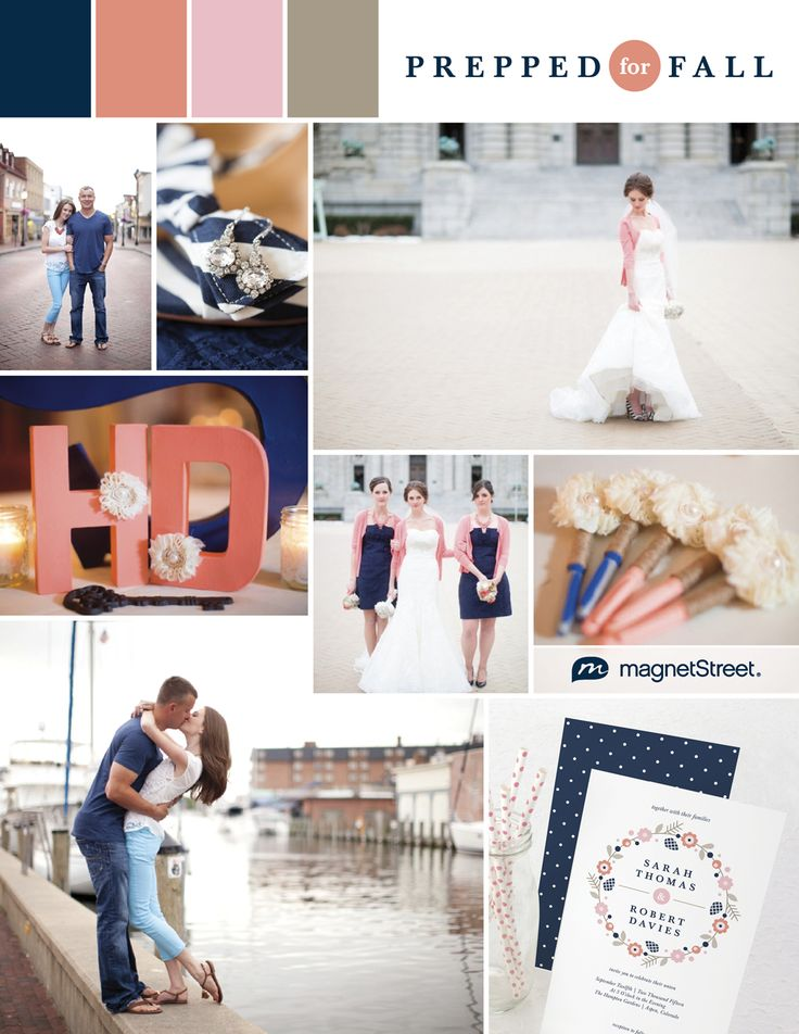 Preppy coral and navy fall wedding color palette & invitation from MagnetStreet