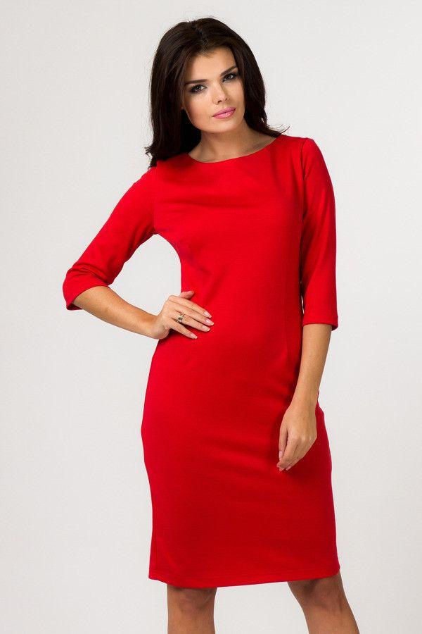 35d5ab7c8d Czerwona  elegancka  sukienka  plus  size  XXL dzianina Duże rozmiary
