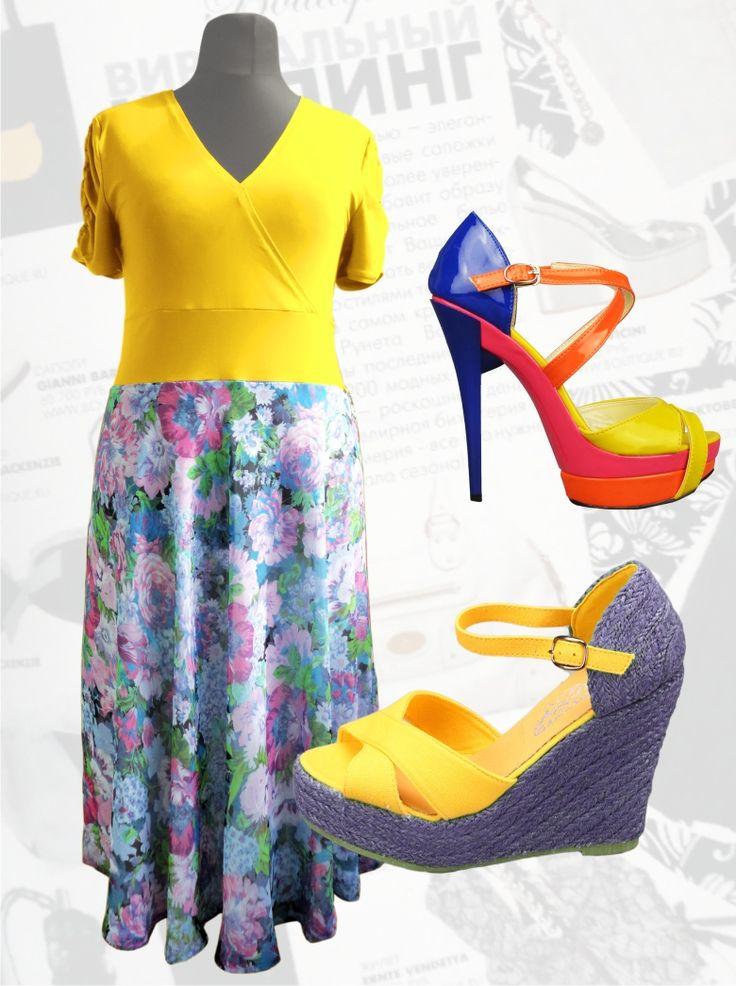 """54$ Платье с шифоном для полных женщин """"Желтая сирень"""" Артикул 463, р50-64"""