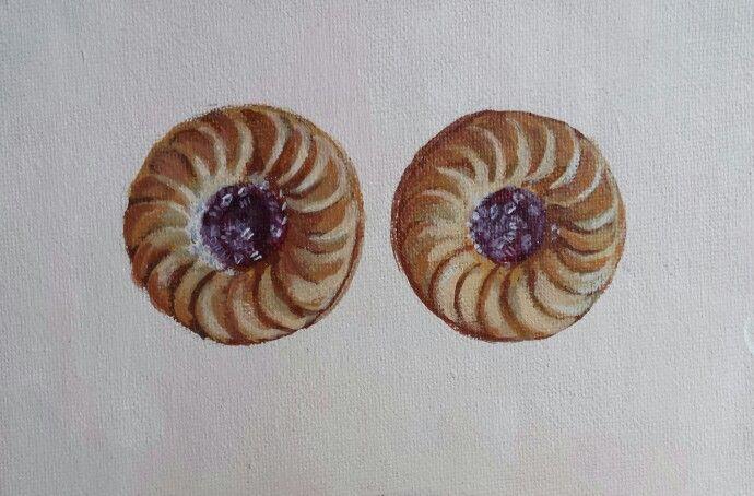 Biscuits.  Yum.  Acrylic on canvas.  @Pastelesta Art www.pastelesta.co.uk