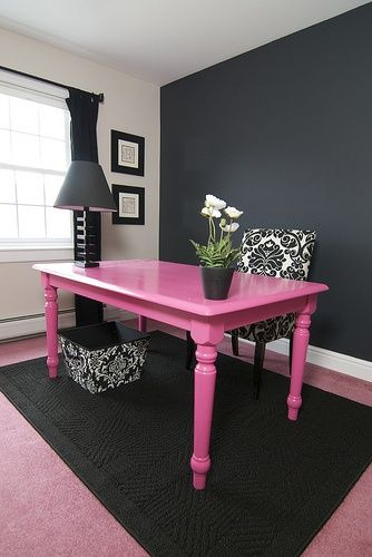 DIY budget friendly office desk. You can find these old farm tables at any garage sale..paint it in a bright colored glossy paint and VOILA!  Instant chic -on the cheap.