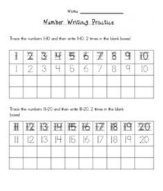Number Writing 1-20  Great chart for students! They can trace and practice writing the numbers. You can even cut it in half and teach 1-10 and then 11-20. Used this sheet last year for KIndergarten students! K.Allen