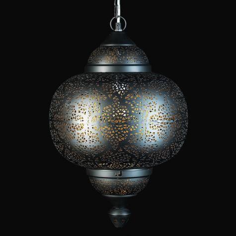 Oriental pierced metal pendant light
