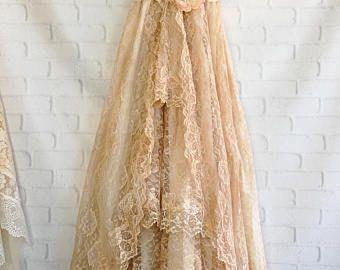 ecru tan & cream lace tiered boho wedding dress by mermaid