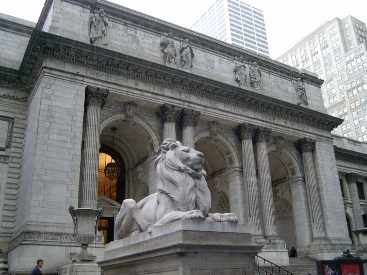 """""""NYC Public Library Front"""" by melanzane1013 on 27 March 2007 ~ NYC Public Library lion     The main branch of the NY Public Library, situated on the edge of Bryant Park, is 1 of the most peaceful places in the city, which makes it 1 of my favorites. Many well-known movies have filmed there, including """"Breakfast at Tiffany's,"""" """"Ghostbusters,"""" """"Spider-Man,"""" """"Sex & the City,"""" & """"13 Going on 30."""""""