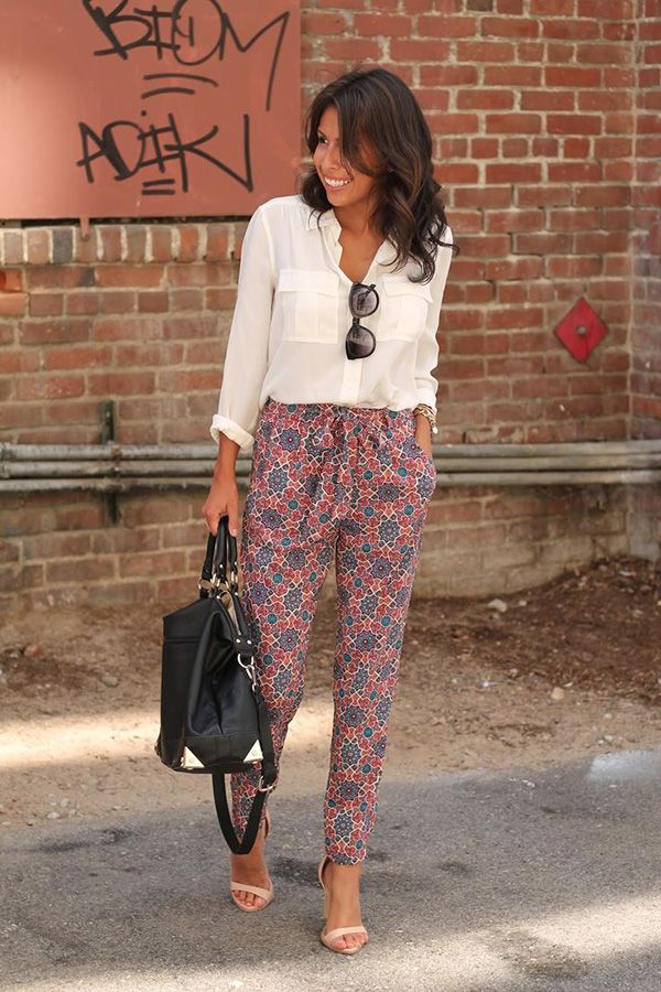 Printed trousers are a fun alternative to work dresses and skirts. They can be mixed and matched with your basics - add a color through your accessories.
