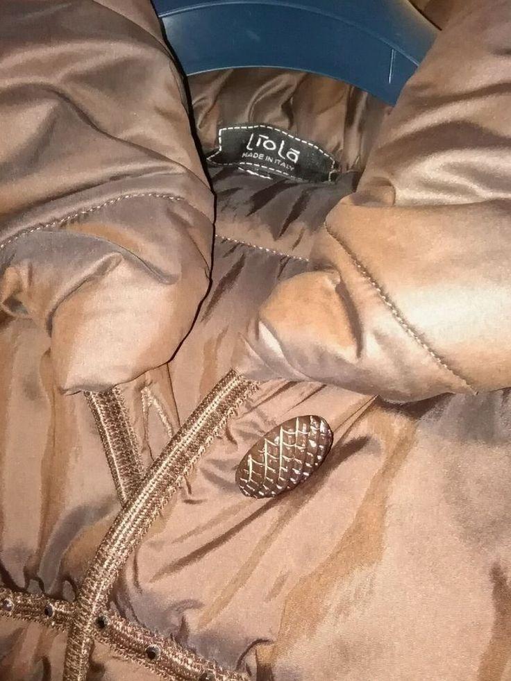 piumino donna Liola tg 46 marrone strass bottoni gioiello