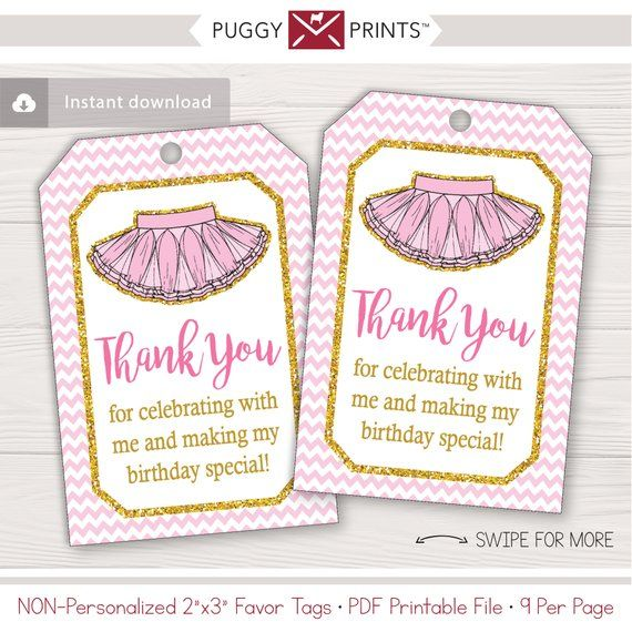 Tutu Birthday Favor Tags Pink And Gold Non Personalized And