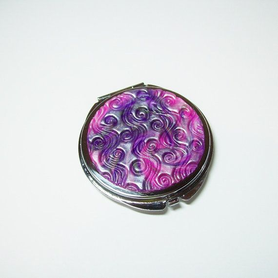 Bright Pink and Purple Pearl Round Compact by VictoriasPolymerArt, £6.75