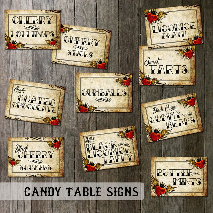 Rockabilly Wedding Candy Table Signs | Digital Files |  Tattoo Winged Heart Vintage Parchment Paper Digital Printable Table Signs by OddLotPaperie on Etsy https://www.etsy.com/listing/150772861/rockabilly-wedding-candy-table-signs