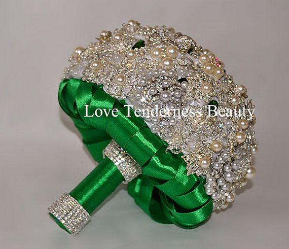 Mazzo verde Bouquet nozze d'argento Spilla Bouquet di LoveBouquet