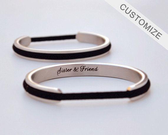 Haare Krawatte Armband Halter personalisierte Geschenk Haar Krawatte Armreif graviert benutzerdefinierten Namen Armband Manschette Silber Graduierung Jubiläumsgeschenk für Sie