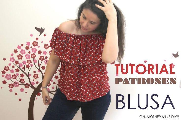 Tutorial y patrones de costura: blusa sin hombros                              …