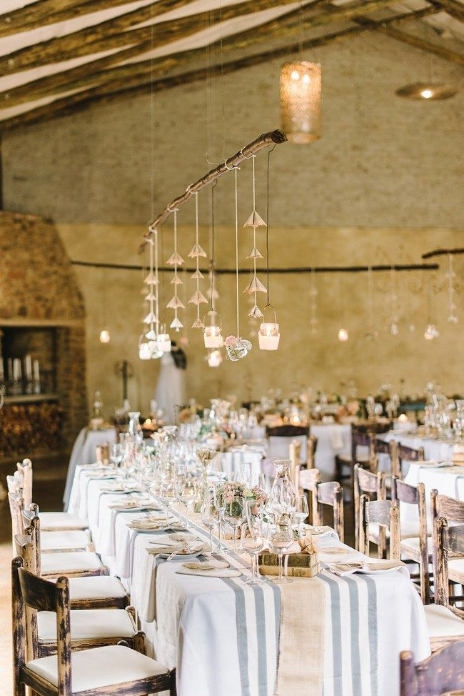 Tablescape :: Wedding Reception Decor :: Pretty paper Flower, Rustic Blush Farm Wedding :: South Africa :: Louise Vorster Photography :: Seen on ConfettiDaydreams.com