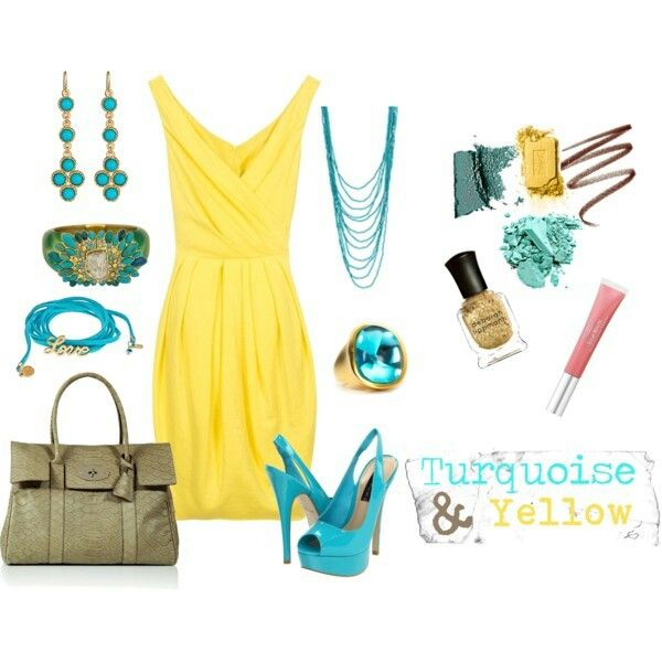 Yellow Turquoise Olive Outfit