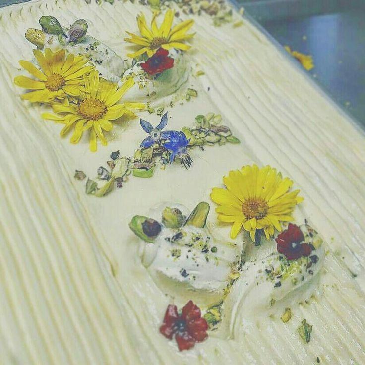 White chocolate with pistacias and decorate  with eat flowers @jedle_kvety #callozmrzlina #callozmrzlinadolnykubin #zmrzlina #dnesjem #foodporn #food #icecream #slovakia #foodstagram #yummy #tastyfood #delicious #sweet #instafoodie #handmade #gelatoart #nature #naturals #jedlekvety #pdflora #jedle_kvety #gelato #whitechocolate #flowers #decoration #lovenature #foods #dessert #whitechocolateicecream #dessertporn