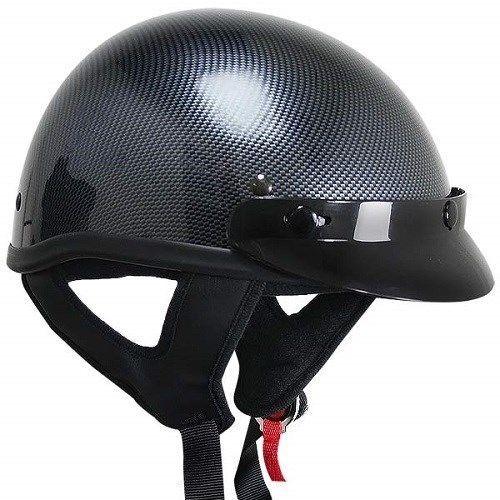 Outlaw T69 DOT Carbon Black Motorcycle Skull Cap Half Helmet w/ Removable Visor #outlaw #Motorcycle