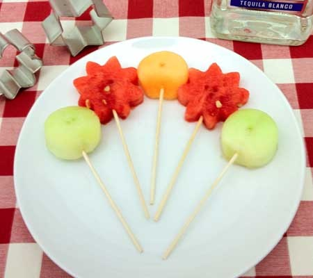 Tequila-Infused Fruit Cocktail on a Stick
