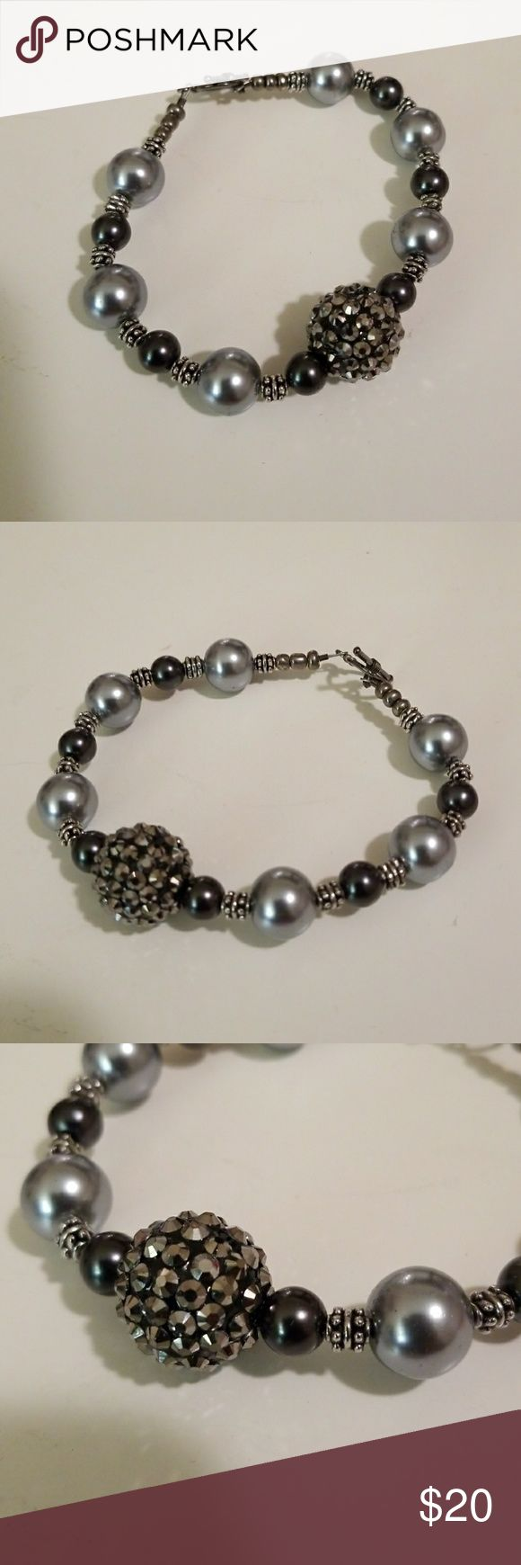 """Handmade Bracelet Black, silver tone and gray handmade bracelet, silver tone toggle, large bling bead.  Approx. 9"""" perfect for us plus size women. 😁 Jewelry Bracelets"""