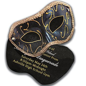 The Masquerade Invitations have the look and shape of black mask with a gold border and swirl accents.