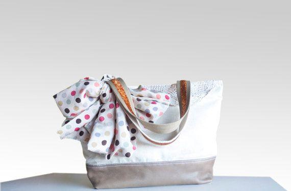 Large Copper Brown leather tote bag  organic ecru by dawnaparis, €55.00