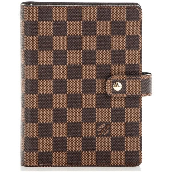 LOUIS VUITTON Damier Ebene Medium Ring Agenda Cover ❤ liked on Polyvore featuring home, home decor and stationery