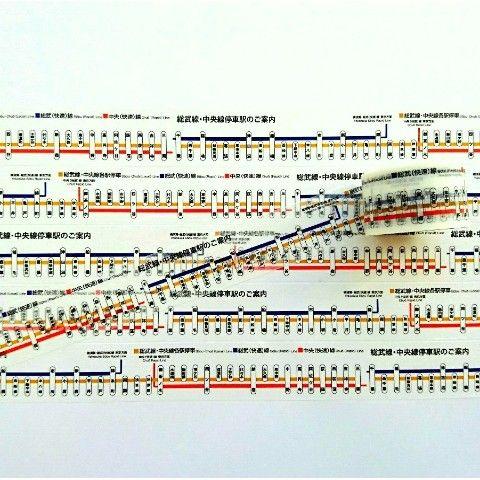 中央・総武線の路線案内図をデザインしたマスキングテープです。あなたの最寄り駅は記載されていますか?  幅25mm×長さ5m  JR東日本商品化許諾済
