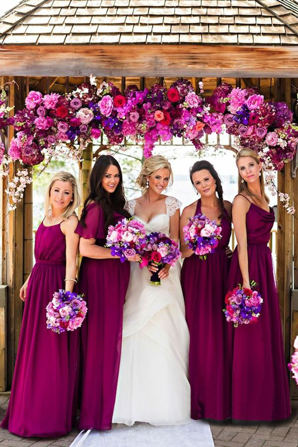 Hot Sale Halter Sleeveless Floor-Length Purple Bridesmaid Dress