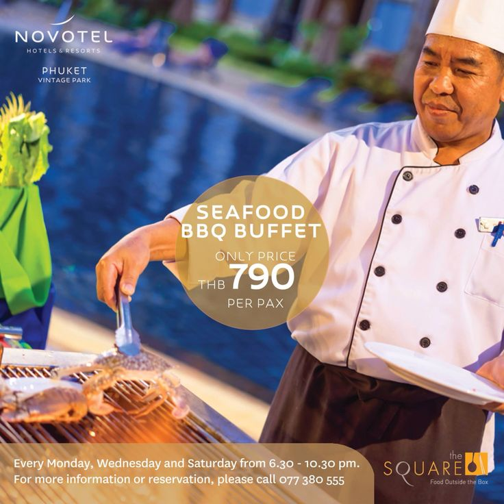 Proudly present Seafood BBQ Buffet every Monday, Wednesday and Saturday only at price THB 790 net! #seafood #seafoodlover #prawns #shrimps #rocklobster #buffet #yummy #tasty #letseat #thesquare #novotelphuketvintagepark