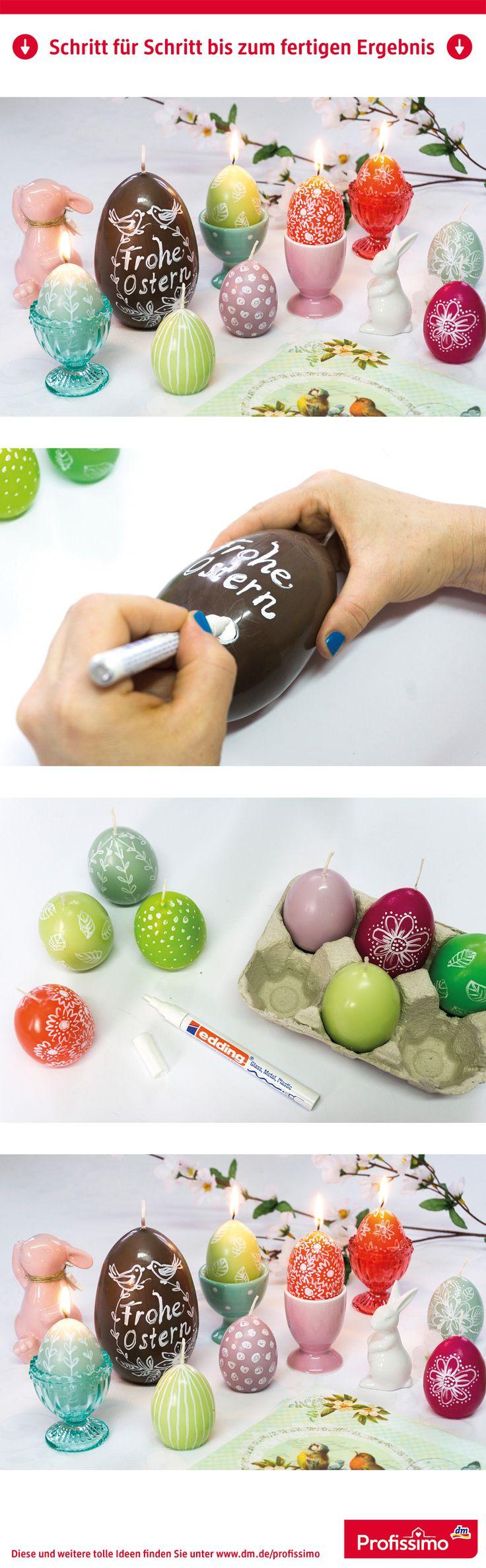 Hingucker zu Ostern: Individuell verzierte Eierkerzen // Nicht nur die Eier am Osterstrauß lassen sich bemalen und verzieren. Besonders hübsch sind auch diese Eierkerzen, die ganz einfach mit einem weißen Lackstift bemalt und beschriftet werden. // // Eine Schritt-für-Schritt Anleitung finden Sie auf dm.de/profissimo-kreativ // #ProfissimoKreativ #basteln #Idee #Kreativ #DIY