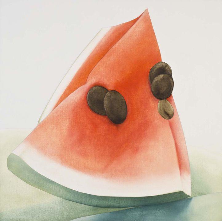 Ana Mercedes Hoyos, Watermelon, acrylic on canvas. 31.5 x 31.5 inches, framed.