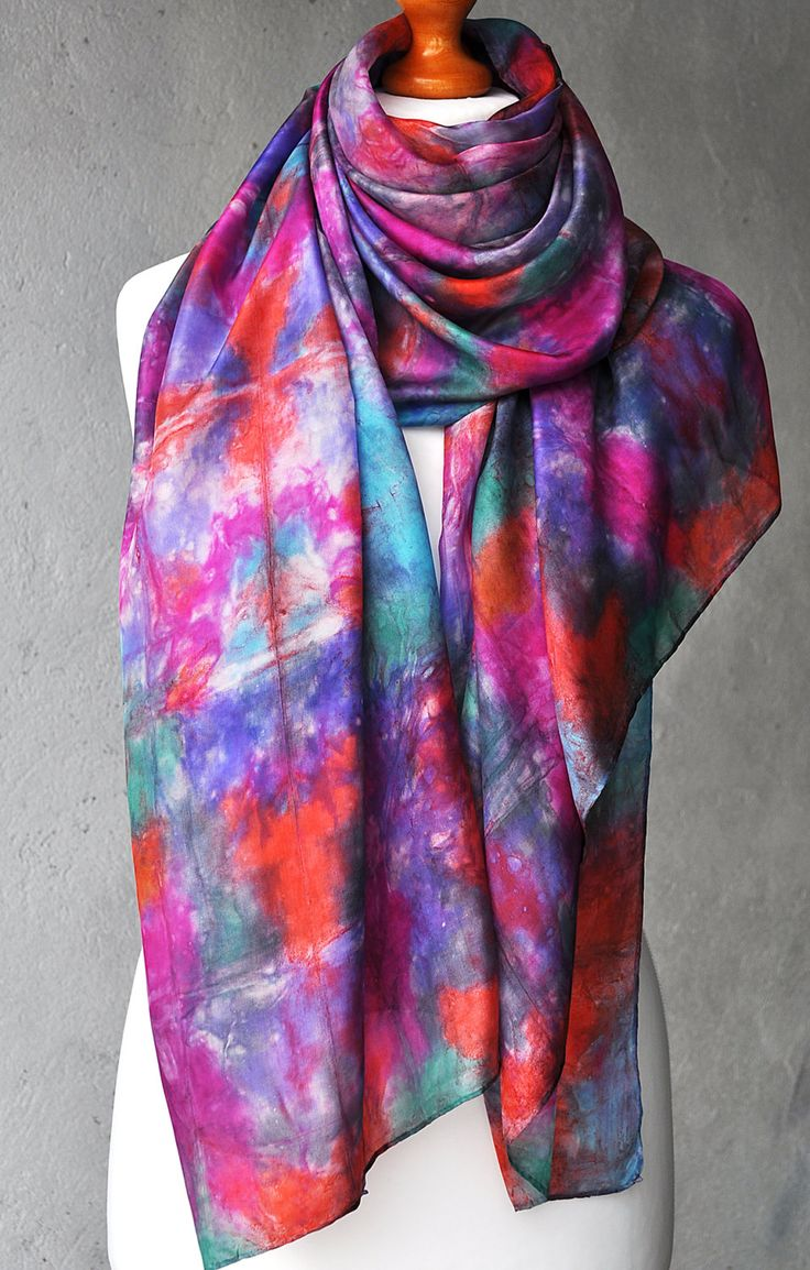FREE SHIPPING -- Silk Scarf Handmade -- Hand Painted Abstract Silk Scarf - Summer Purple Pink Red Rainbow - Pure silk - hand dyed silk shawl by ShellenD on Etsy