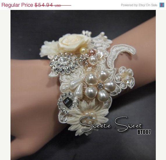 SALE 30 OFF Bridal Wrist Corsage Wedding wrist by SweetieWorkshop, $38.46