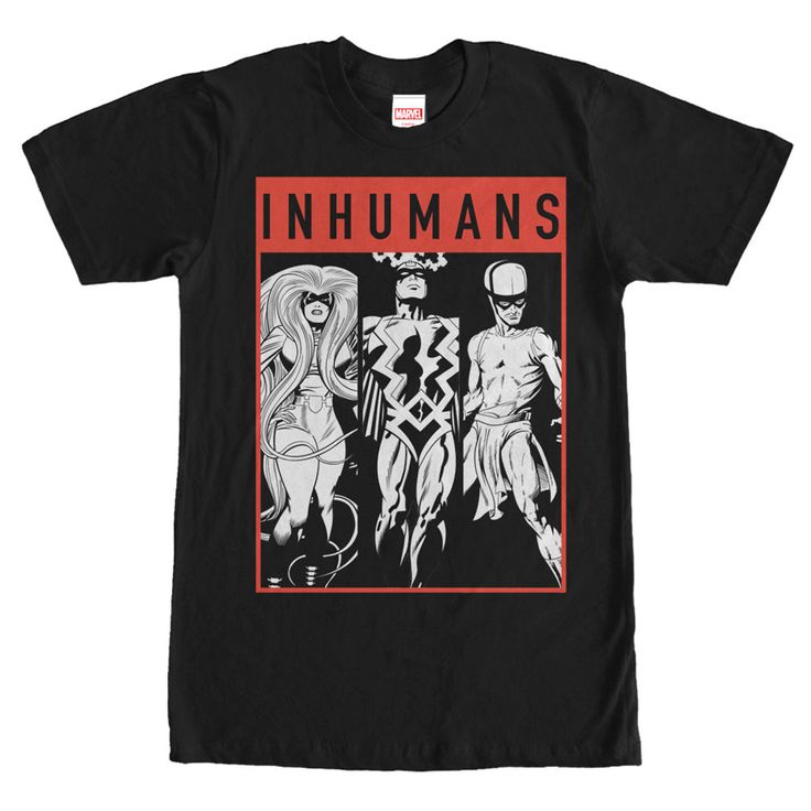 Tri Inhuman - Rise up and help defeat Ronan with the Marvel Inhumans Grayscale Black T-Shirt! This awesome black Marvel shirt portrays King Black Bolt, Queen Med, and Karnak in black and white print and bed by a thin red frame.