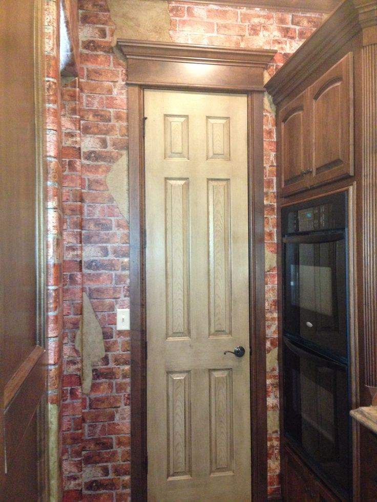 Italian cafe kitchen ideas brick wallpaper pinterest for Brick wallpaper ideas for kitchen