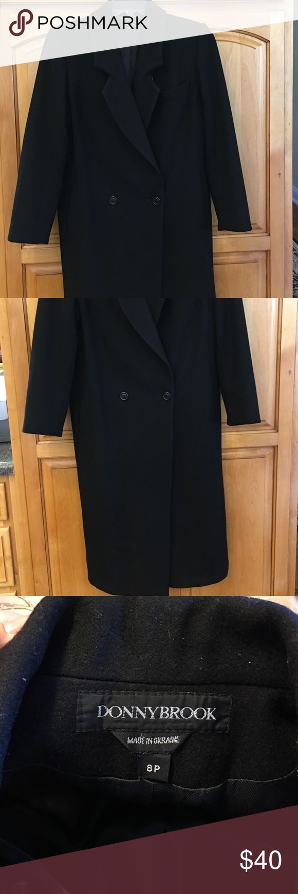 """Wool Winter Coat, Black, Elegant Size 8 petite- for the lady who is less than 5'4"""". Black wool, black lined, 2 pocket, 45"""" long, 20"""" wide at the waist when buttoned Donny Brook Jackets & Coats Trench Coats"""