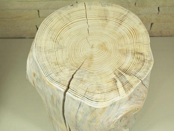White Tree Stump Table scandinavian style Wooden by FreeTreeStudio