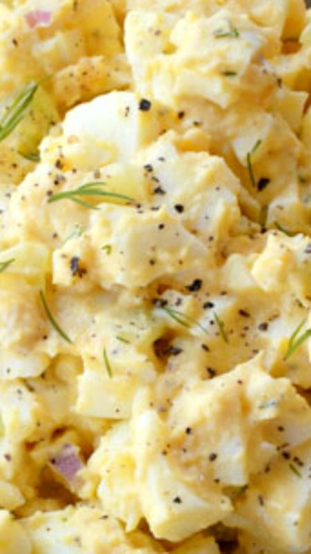 Homestyle Egg Salad Recipe is for you ~ Uses very little mayo and relies on the creaminess of the yolks for a silky smooth texture