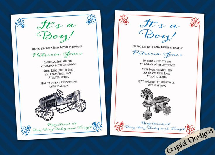 New to CupidDesigns on Etsy: Boy baby shower invitation|Vintage baby shower invitation|vintage toy car invitation|Antique horse baby shower invitation. (20.00 USD)