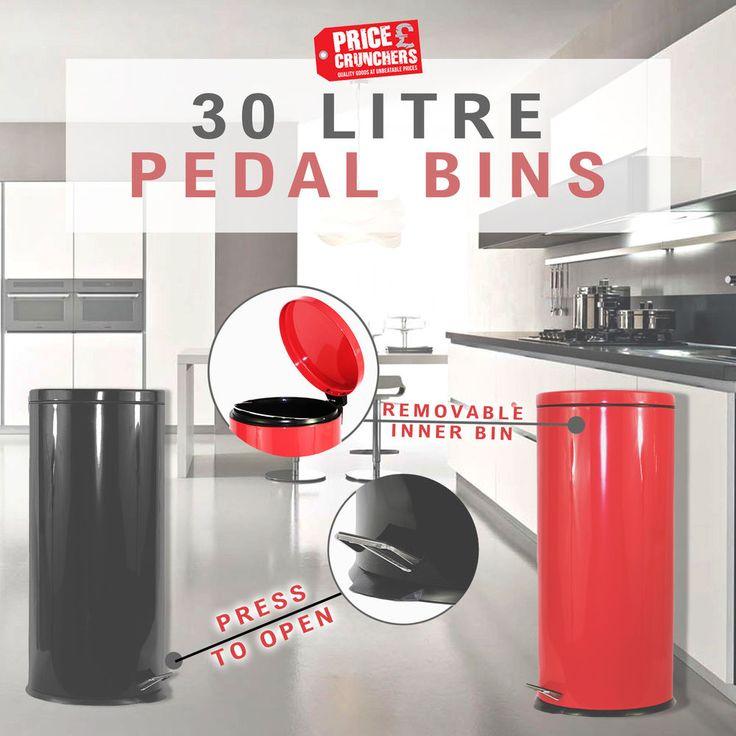 BLACK RED Stainless Steel Bin Rubbish Wastebin Kitchen Garage Bin 30 L 3 Litre #Highlands