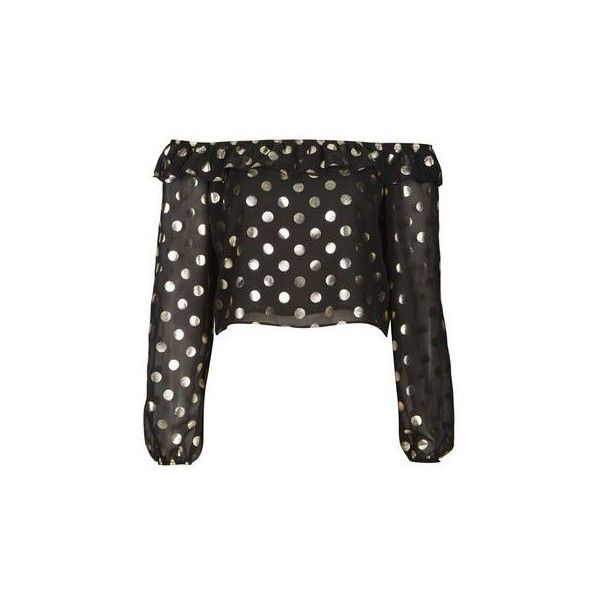 Metallic Spot Bardot Top by Nobody's Child (64 RON) ❤ liked on Polyvore featuring tops, black, dot top, party tops, flutter-sleeve top, polka dot top and night out tops