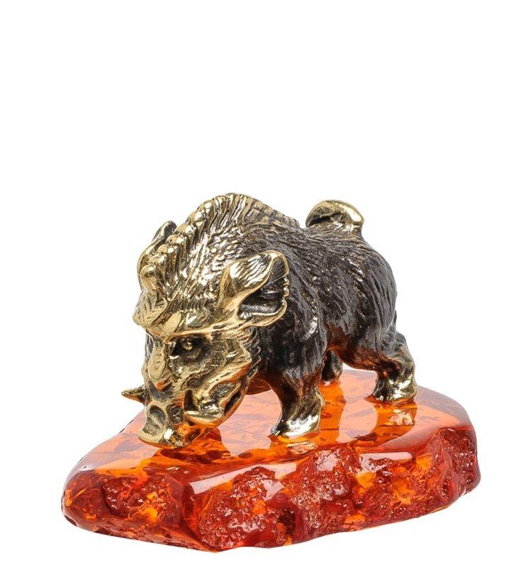 Фигурка «Кабан Пумба» AM-1555      Страна производства: Россия;   Материал: латунь/янтарь;          #figures #brass #amber #фигурки #латунь #янтарь