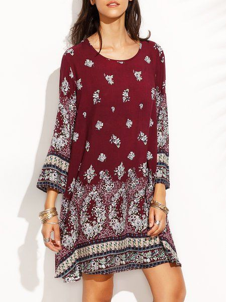 Shop Vintage Dresses - Burgundy Tribal Long Sleeve Polyester Vintage Dress online. Discover unique designers fashion at JustFashionNow.com.